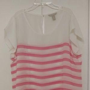 Banana Republic Creme Shirt with Pink Stripes